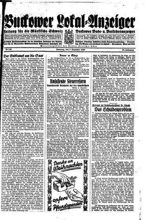 Buckower Lokal-Anzeiger vom 05.12.1933