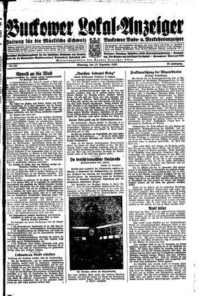 Buckower Lokal-Anzeiger vom 12.12.1933