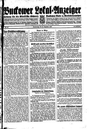Buckower Lokal-Anzeiger vom 21.12.1933