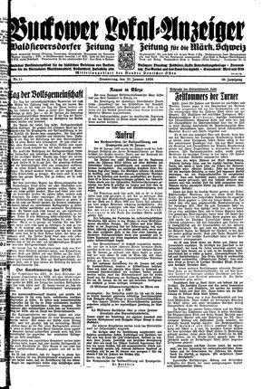 Buckower Lokal-Anzeiger vom 25.01.1934