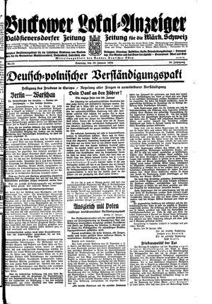 Buckower Lokal-Anzeiger vom 28.01.1934