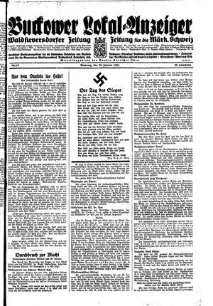 Buckower Lokal-Anzeiger vom 30.01.1934