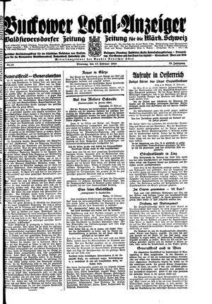 Buckower Lokal-Anzeiger vom 13.02.1934