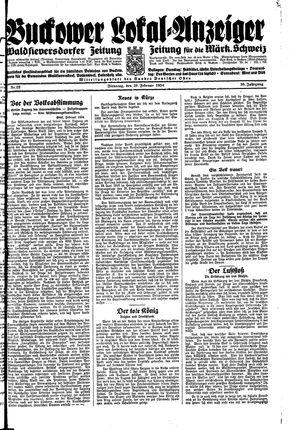 Buckower Lokal-Anzeiger vom 20.02.1934