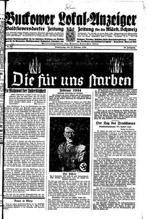 Buckower Lokal-Anzeiger vom 25.02.1934