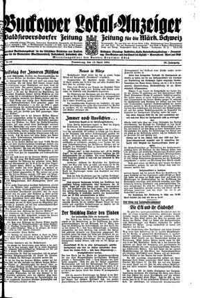 Buckower Lokal-Anzeiger vom 12.04.1934