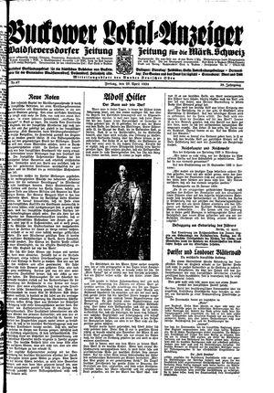 Buckower Lokal-Anzeiger vom 20.04.1934