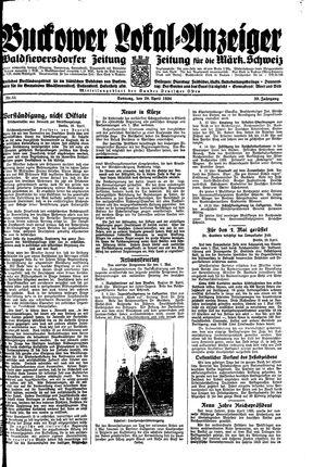 Buckower Lokal-Anzeiger vom 29.04.1934