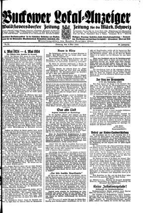 Buckower Lokal-Anzeiger vom 06.05.1934