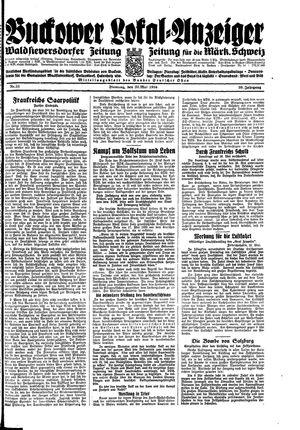 Buckower Lokal-Anzeiger vom 22.05.1934