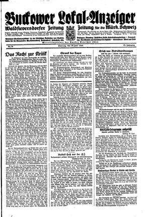 Buckower Lokal-Anzeiger vom 26.06.1934