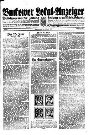 Buckower Lokal-Anzeiger vom 28.06.1934