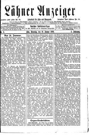 Lähner Anzeiger vom 16.01.1906