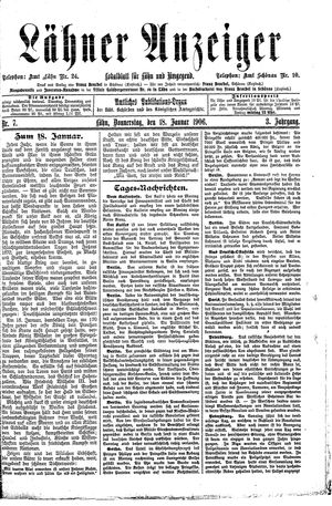 Lähner Anzeiger vom 18.01.1906