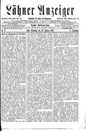 Lähner Anzeiger vom 23.01.1906
