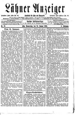 Lähner Anzeiger vom 25.01.1906