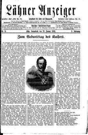 Lähner Anzeiger vom 27.01.1906