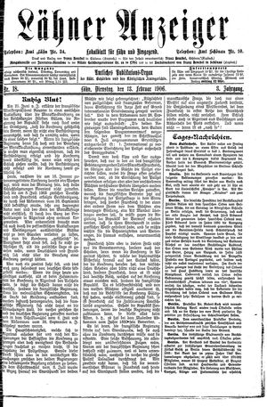 Lähner Anzeiger vom 13.02.1906