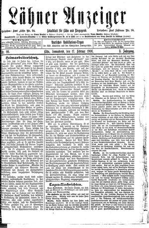 Lähner Anzeiger vom 17.02.1906