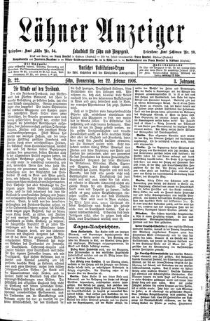Lähner Anzeiger vom 22.02.1906