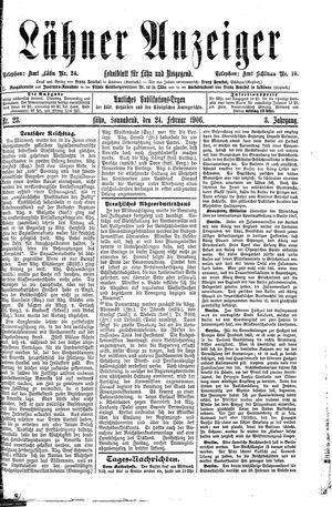 Lähner Anzeiger vom 24.02.1906