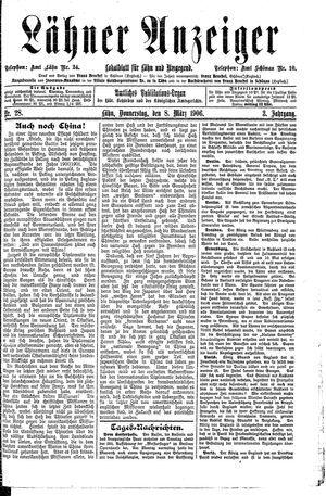Lähner Anzeiger vom 08.03.1906