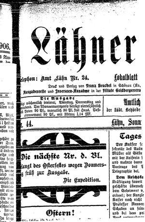 Lähner Anzeiger vom 15.04.1906