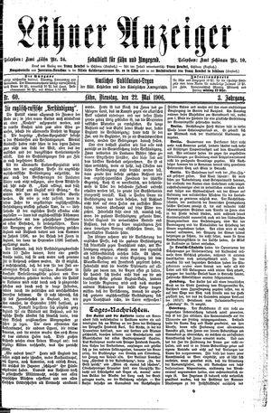 Lähner Anzeiger vom 22.05.1906