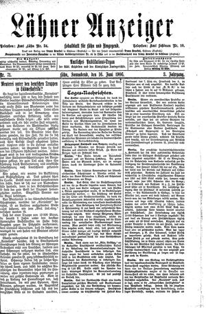 Lähner Anzeiger vom 16.06.1906
