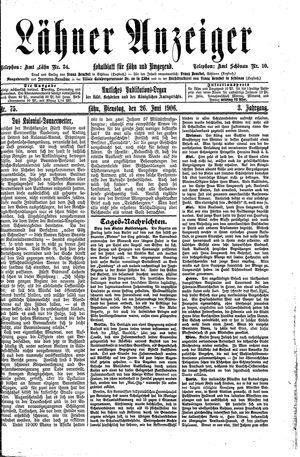 Lähner Anzeiger vom 26.06.1906