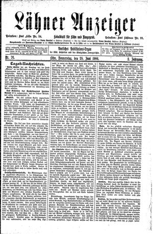 Lähner Anzeiger vom 28.06.1906
