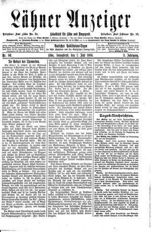 Lähner Anzeiger vom 07.07.1906