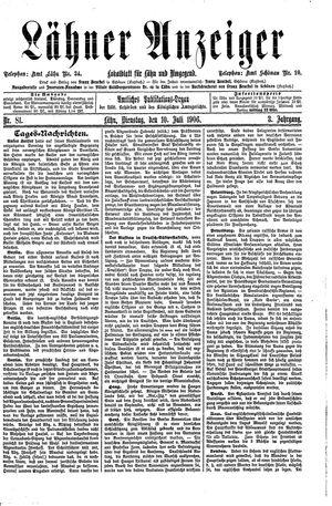Lähner Anzeiger vom 10.07.1906