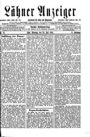 Lähner Anzeiger vom 24.07.1906