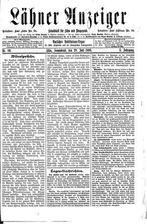 Lähner Anzeiger vom 28.07.1906