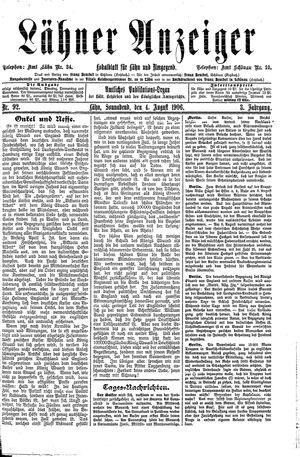 Lähner Anzeiger vom 04.08.1906