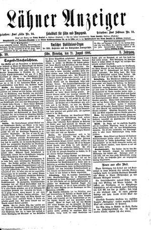 Lähner Anzeiger vom 21.08.1906