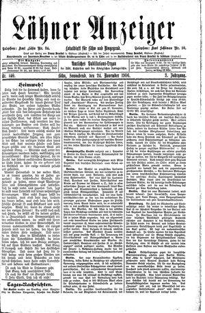 Lähner Anzeiger vom 24.11.1906