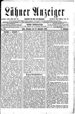 Lähner Anzeiger vom 27.11.1906