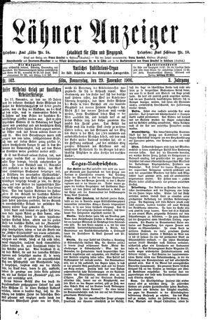 Lähner Anzeiger vom 29.11.1906