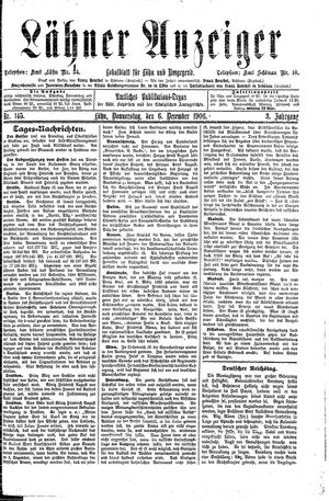 Lähner Anzeiger vom 06.12.1906