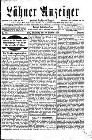 Lähner Anzeiger vom 20.12.1906