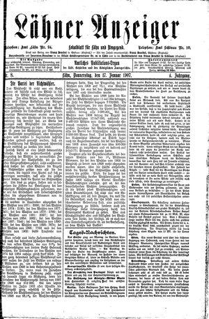 Lähner Anzeiger vom 17.01.1907