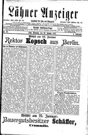 Lähner Anzeiger vom 22.01.1907