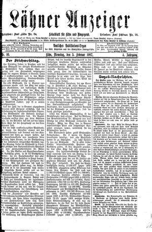 Lähner Anzeiger vom 05.02.1907
