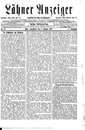 Lähner Anzeiger vom 09.02.1907
