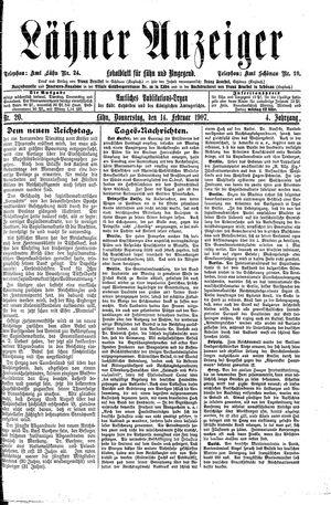 Lähner Anzeiger vom 14.02.1907