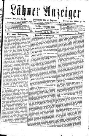 Lähner Anzeiger vom 16.02.1907