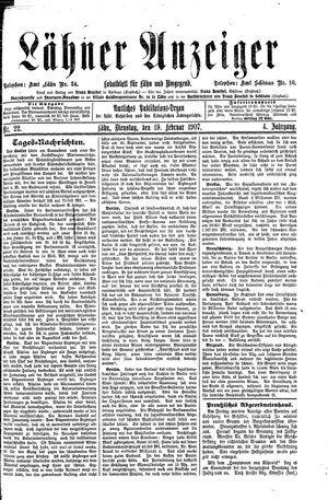 Lähner Anzeiger vom 19.02.1907