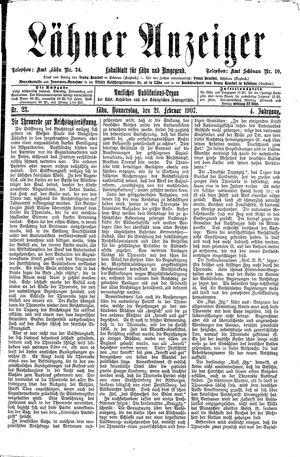 Lähner Anzeiger vom 21.02.1907